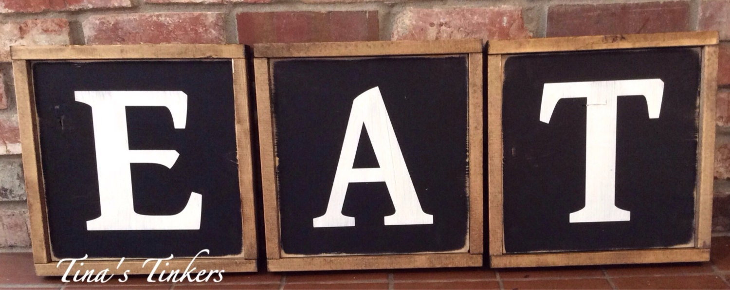 Rustic eat wood signs letters kitchen decor for Kitchen letters decoration