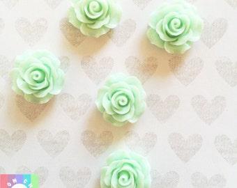 Mint Green Rose Flower Cabochons- 5 pcs 20mm