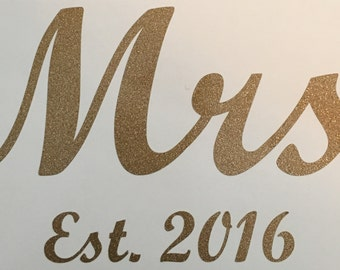 Mrs. wedding cup decal