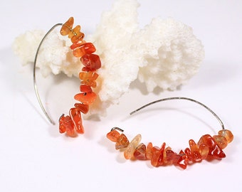 carnelian earrings gemstone jewelry cluster earrings orange earrings statement earrings summer jewelry gift for her girlfriend gift under ї3