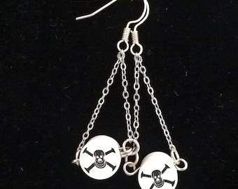 clay bead skull dangle earrings