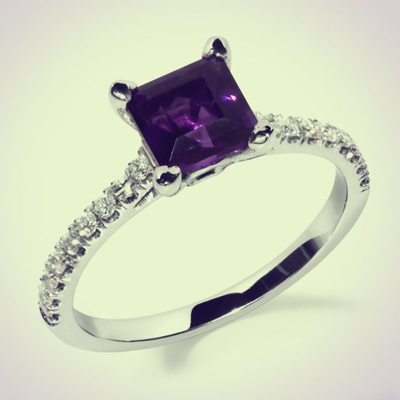 14k gold princess cut amethyst and by