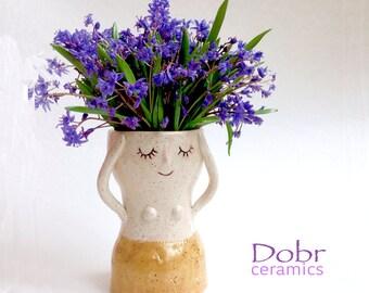 Ceramic vase, White, Beige, Made to order