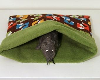 Rat Cozy Sack, Hedgehog Snuggle Bag, Hedgie Cuddle Hidey - Multicolour Foxes with Green Fleece