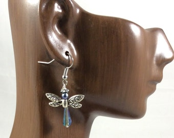 Dragonfly Angel Earrings, Crystal Angels, Christian Gift, Quinceañera Gift, Holiday Angel Earrings Holiday Earrings, Guardian Angel Earrings