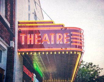 Theatre, Buildings Street Photography, Lights, Movies, Fine Art Photograph, Red Light, Picture, Downtown Lights, movie Theatre, Deco, Art