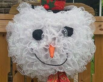 Snowman Wreath - Christmas Wreath for Front Door - Snowman Door Wreath - Winter Wreath - Christmas Decor - Holiday Wreath for Front Door