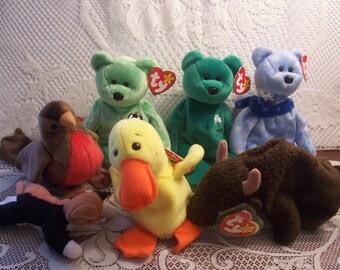 Seven TY Beenie Babies