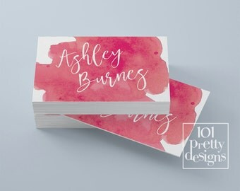 Watercolor business card template pink printable business card design white pink business cards template custom business card  makeup paint