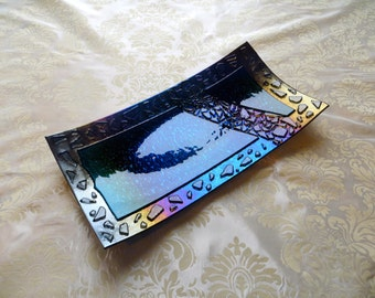 Large Fused Glass Tray in Iridescent Midnight Blue with Accents in Aqua and Clear Crushed Glass