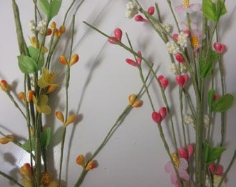 LARGE Pink or Yellow Wired Pip Berry Stems-Spring Pip Berry Stems-Artificial Spring Bushes