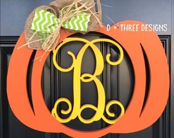 Monogram Pumpkin Door Hanger // Fall Wreath // Autumn Monogram // Painted Monogram Fall Wreath // Wooden Door Hanger // Pumpkin Wreath