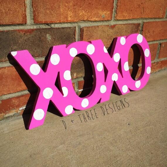 Xoxo Polka Dot Sign Wooden Letters Home Decor Room Decor