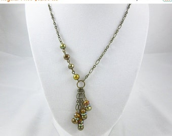SALE Copper Freshwater Pearl Necklace Handmade 18 Inch Antique Brass Necklace
