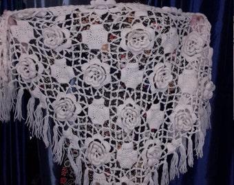 Handmade Vintage 1970 Crochet Shawl Free Shipping!