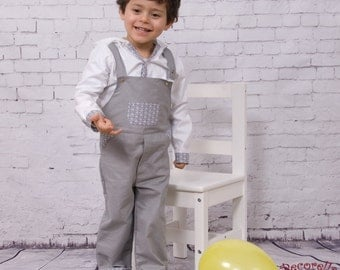 "Baby boy dungarees/ overalls long in grey cotton with printed ""ship"" pocket on front"