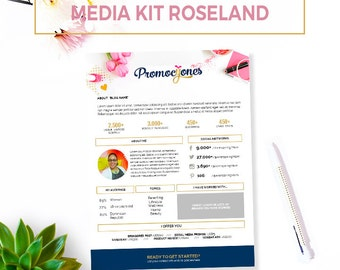"""Media Kit Template -""""Roseland"""". Blog Media Kit. Marketing Material. Kit for blogger. Power Point Media Kit."""