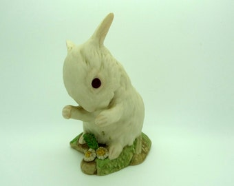 Vintage Collectible Fine Porcelain Bunny Rabbit Figurine White with Flowers Signed Cybis