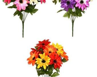 Artificial Flowers Dahlia 47cm - 9 Satine Head 13cm dia. Bunch Posy Bush