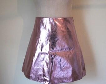 Metallic Foil Pink Mini Skirt