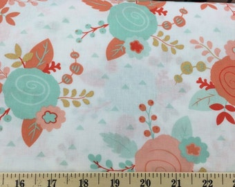 Coral Peach Mint Gold Floral Fabric By the Yard Fat Quarter White Piper Modern Metallic Flowers Cotton Quilting Fabric a5/4