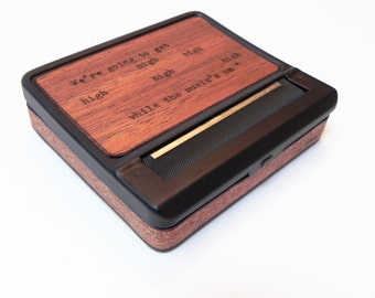 Black Cigarette Case : Brooklyn Made Wood Poetry - rolling machine, roller, smoker gift, cigarette machine, roll, herbal cigarette, roll