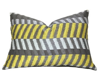 "Modern Geometric Gray Yellow Colorblock Chevron Zig Zag Pillow Cushion Zipper Cover, Made to fit Lumbar 16"" 18"" 20"" 22"" 24"" Inserts"