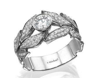 Leaves  Engagement Ring, white Gold Ring, Diamond Ring, diamond engagement ring, Wedding Ring, Leaf Ring, engagement ring, band ring, 14K
