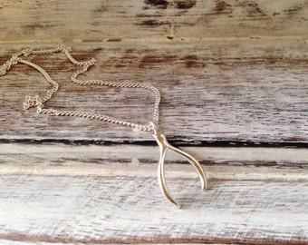 Wishbone Necklace~Minimal Jewellery~Silver Wishbone Pendant~Sterling Silver~Silver Jewellery~UK Shop-Eleanor Rose Jewellery~UK Seller