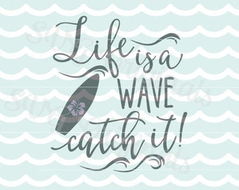 Summer Beach Surf SVG Vector File. So fun for the surfer and beach lover! Cricut Explore and more. Surf Beach Board Wave Hang Ten SVG