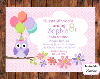 Owl Invitation, Owl Invite, Pink Owl Theme, Owl Birthday Invitation, Flower Invitation, Girl Birthday, Shower Invitation, Balloon Invite