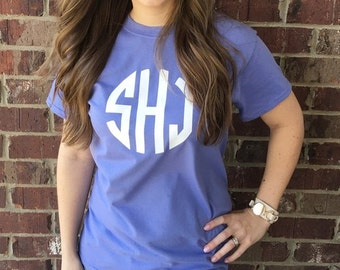 Monogram Shirt Short Sleeve Personalized Tee - 20 Color choices!