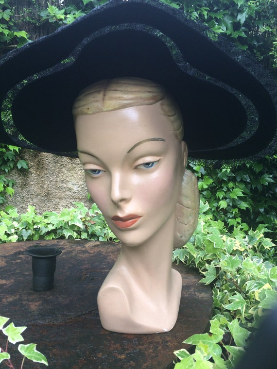 vintage head mannequin 40s 1940 buste display plaster head. Black Bedroom Furniture Sets. Home Design Ideas