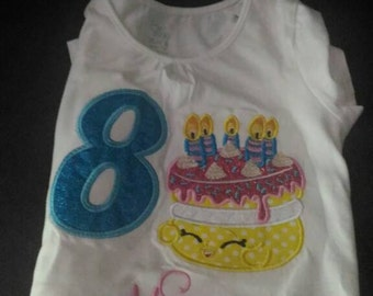 "Shopkins ""Wishes"" embroidered t-shirt, shopkins birthday t-shirt, shopkins personalized t-shirt"