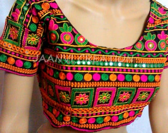 BOLLYWOOD indian boho celebrity saree sari kutch EMBROIDERY stitched BLOUSE top choli