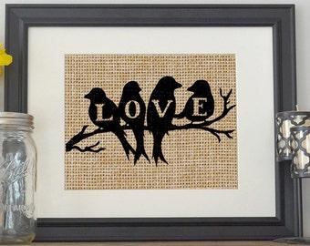 Love Birds Burlap Print