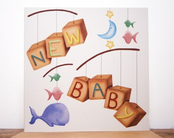 New Baby Mobile Blank Greeting Card