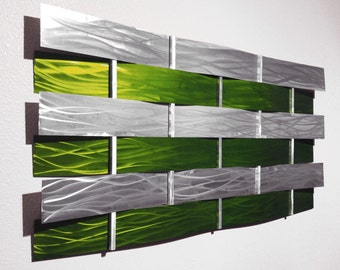 """Modern Abstract Metal Wall Art Sculpture Painting - Lime Green """"Wall Weave"""" by Dustin Miller"""
