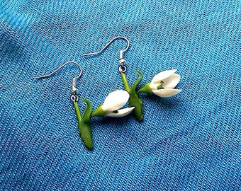 "Earrings""Snowdrops""-Floral decoration-Clay flowers-Floral earrings"