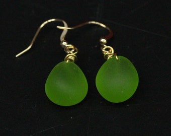 Handmade Green Beach Sea Glass Earrings with Gold Plated Hook