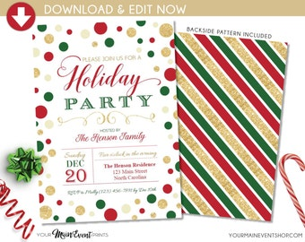 Holiday Party Invitation, Holiday Party Invite, Holiday Party Printable, DIY Edit Adobe Reader Printable