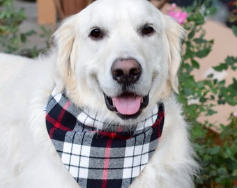 Flannel Plaid Dog Bandana || Personalized Pet Scarf || Puppy Gift by Three Spoiled Dogs