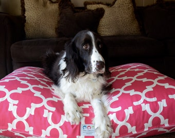Quatrefoil Dog Bed    Pink Custom * Small Medium * Personalize with Your Pups Name * Custom Pillow Cover