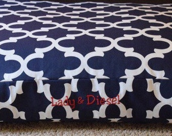 Navy Dog Bed  || Quatrefoil Collection Large Custom Pet Bed Cover || Add Pets Name || Personalize Custom Gift by Three Spoiled Dogs