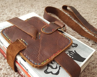 Brown Leather Book Strap with Rainbow Thread