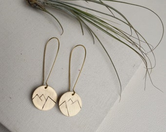 Mountain Range Earrings, Mountain Earrings, Disc Earrings, Textured Disc Earrings, Minimalist Disc Earrings
