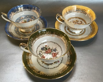 3 sets of Elizabethan Versailles Bone China Tea Cups and Saucers England