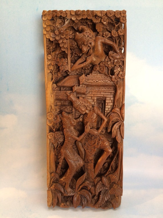 Rama and sinta carved wood d relief story board architectural