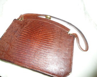 Vintage Cognac Brown Leather Purse Handbag with Metal Clasp Closure