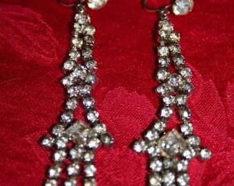 Vintage Chandelier Rhinestone Screw Back Earrings